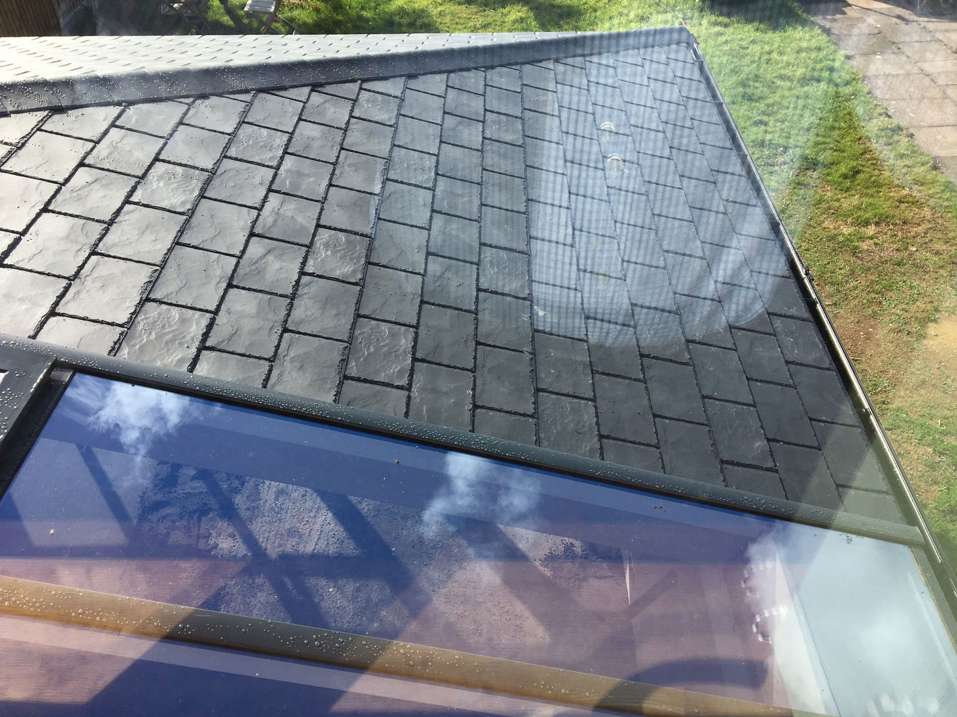 Ultraroof tiled roof with high performance glass panel