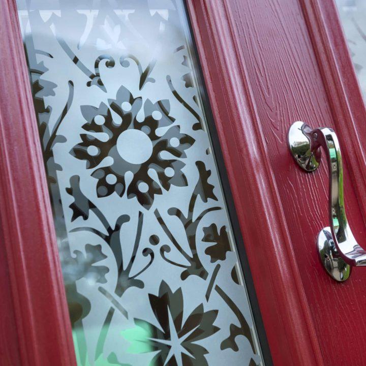 Composite door ruby red