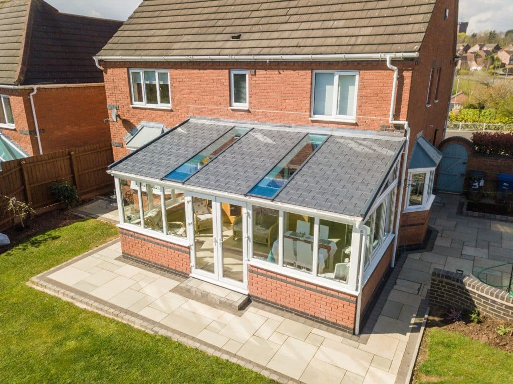 Lean To tiled Roof With full Glass Panels