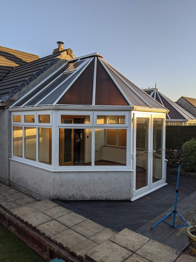 Old polycarbonate roof removed