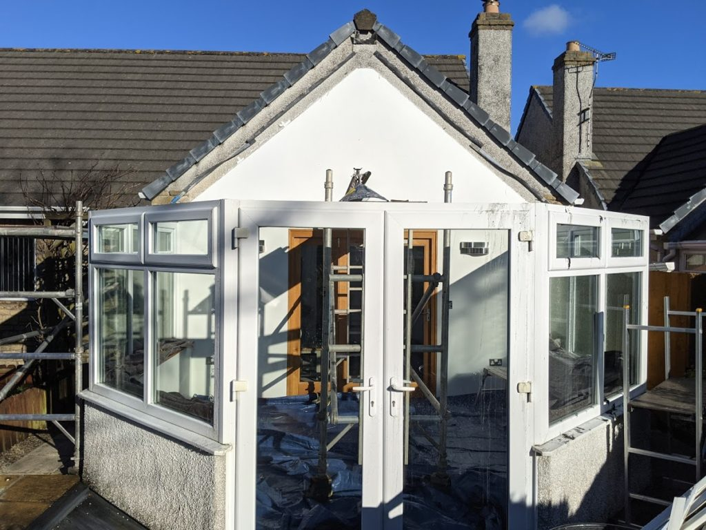 Polycarbonate roof removed