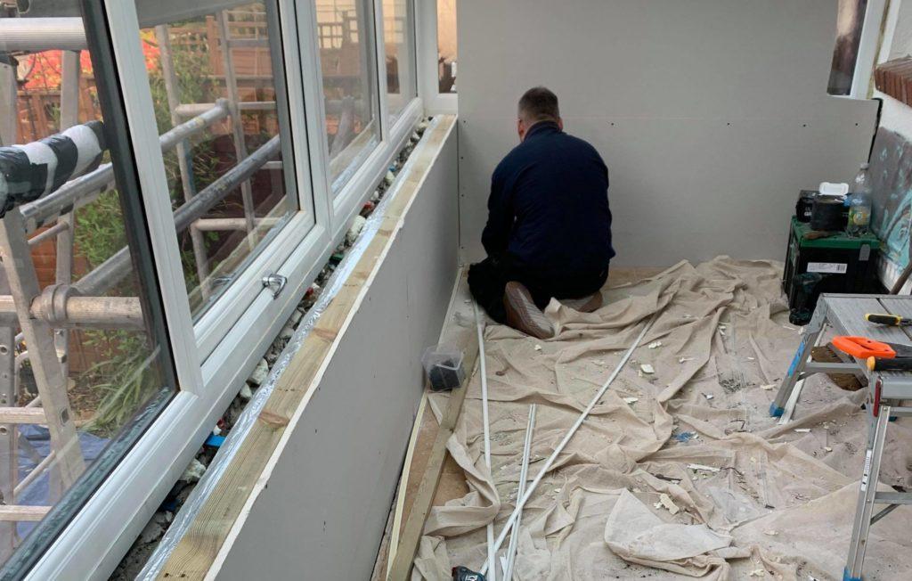 Plasterboarding conservatory walls