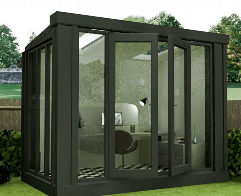build a garden office like this tall studio room.