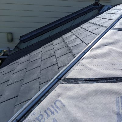 Carbon grey tiled conservatory roof